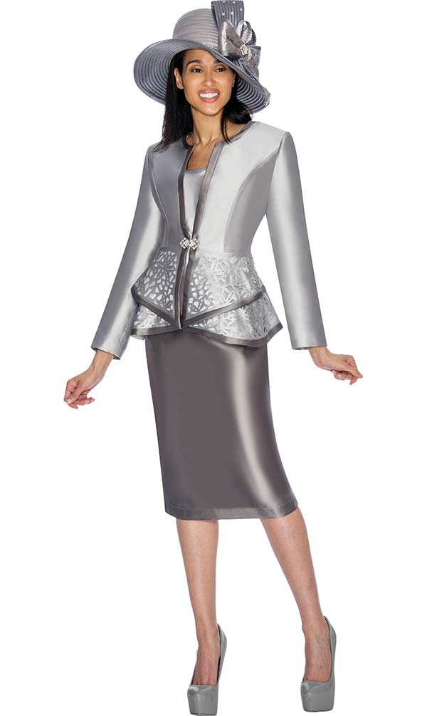 GMI G7013-Silver - Skirt Suit With Peplum Jacket & Contrast Trim