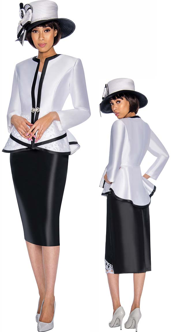 GMI G7013-Black - Skirt Suit With Peplum Jacket & Contrast Trim