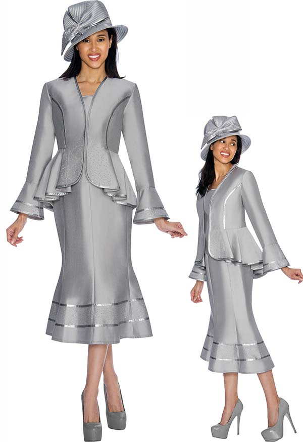 GMI G7023-Silver - Skirt Suit With Pleated Peplum Jacket & Contrast Trim
