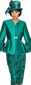 GMI G7032-Emerald - Church Suit With Lace Skirt & Peplum Jacket