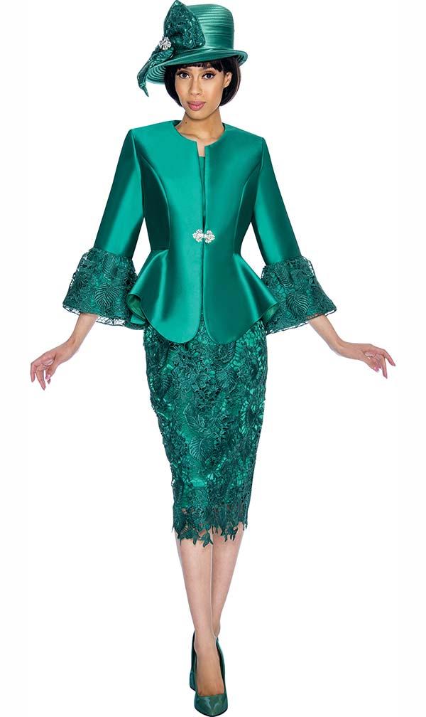 GMI G7032-Emerald - Church Suit With Lace Skirt & Peplum Jacket