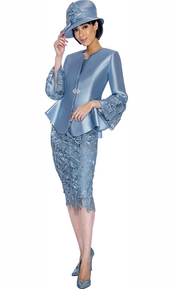GMI G7032-Perri - Church Suit With Lace Skirt & Peplum Jacket