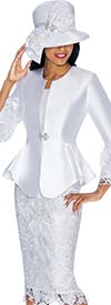 GMI G7032-White - Church Suit With Lace Skirt & Peplum Jacket