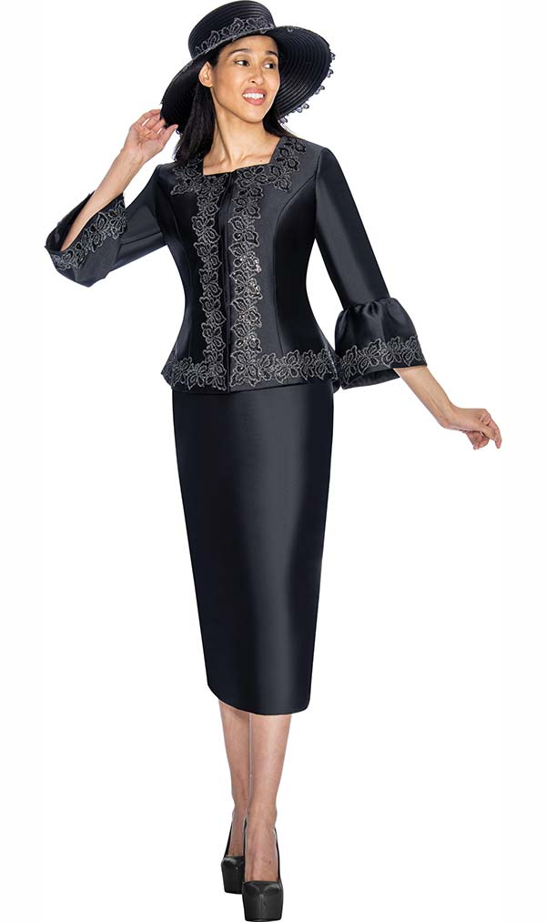 GMI G7042-Black - Skirt Suit With Intricate Detailed Bell Sleeved Jacket