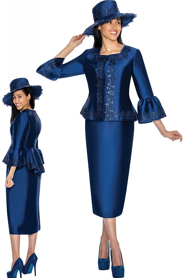 GMI G7042-Navy - Skirt Suit With Intricate Detailed Bell Sleeved Jacket