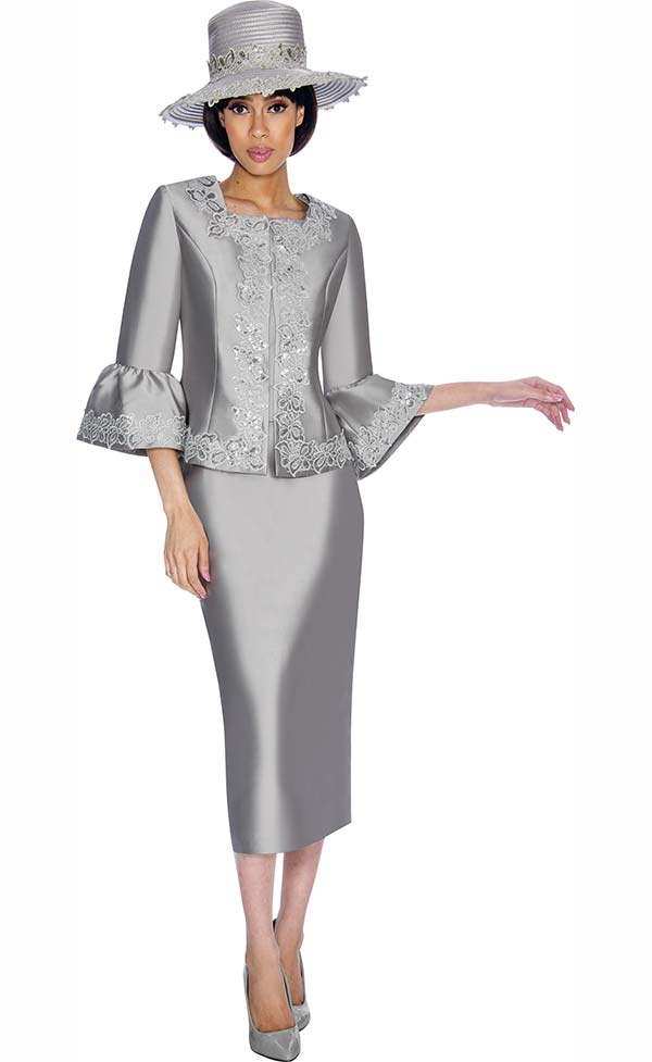 GMI G7042-Silver - Skirt Suit With Intricate Detailed Bell Sleeved Jacket