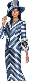 GMI G7072 - Skirt Suit With Detailed Stripe Design Print & Bow Adorned Sleeves