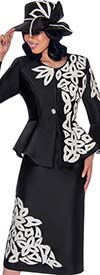 GMI G7112-BlackWhite - Bell Sleeve Peplum Jacket And Skirt Suit With Textured Petal Design