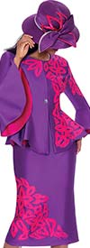 GMI G7112-PurpleMagenta - Bell Sleeve Peplum Jacket And Skirt Suit With Textured Petal Design