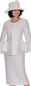 GMI G7112-White - Bell Sleeve Peplum Jacket And Skirt Suit With Textured Petal Design