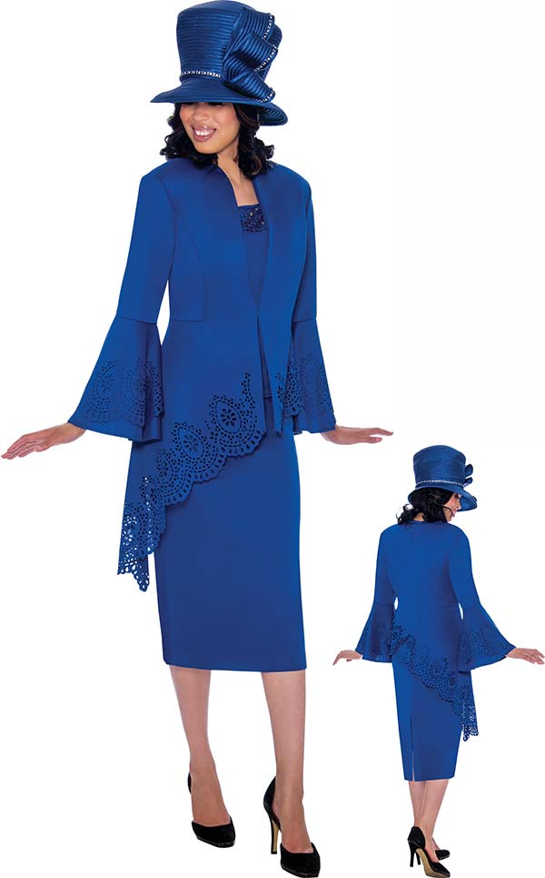 GMI G7423-Royal - Cut-Out Trimmed Half Extended Peplum Jacket And Skirt Suit