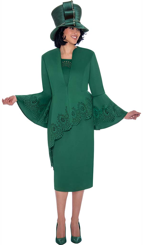 GMI G7423-Green - Cut-Out Trimmed Half Extended Peplum Jacket And Skirt Suit