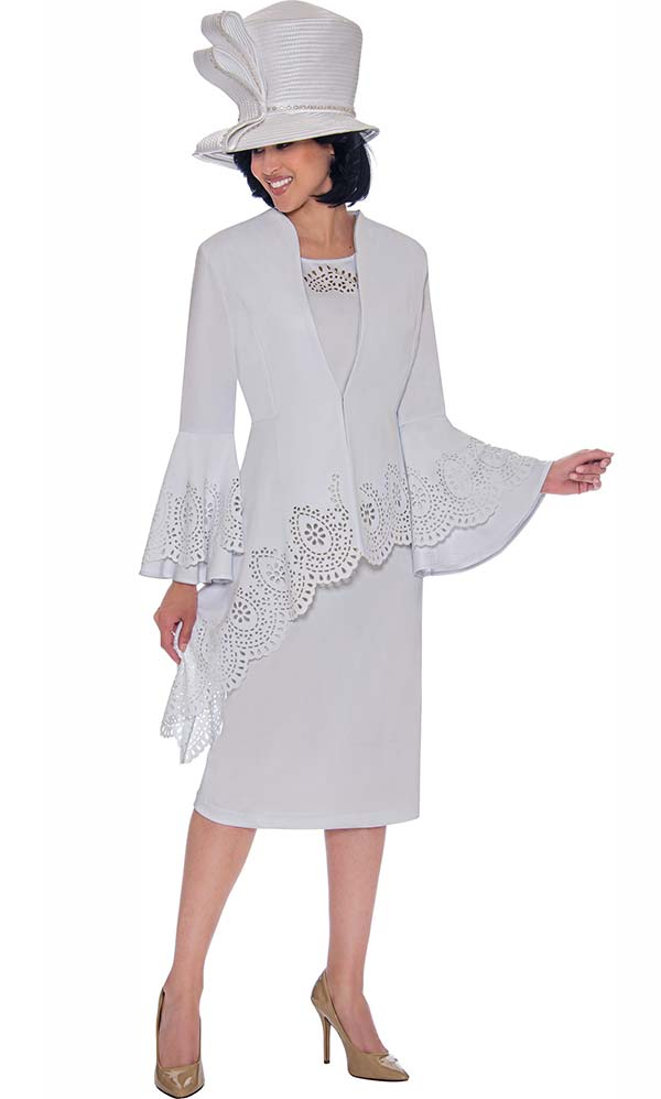 GMI G7423-White - Cut-Out Trimmed Half Extended Peplum Jacket And Skirt Suit