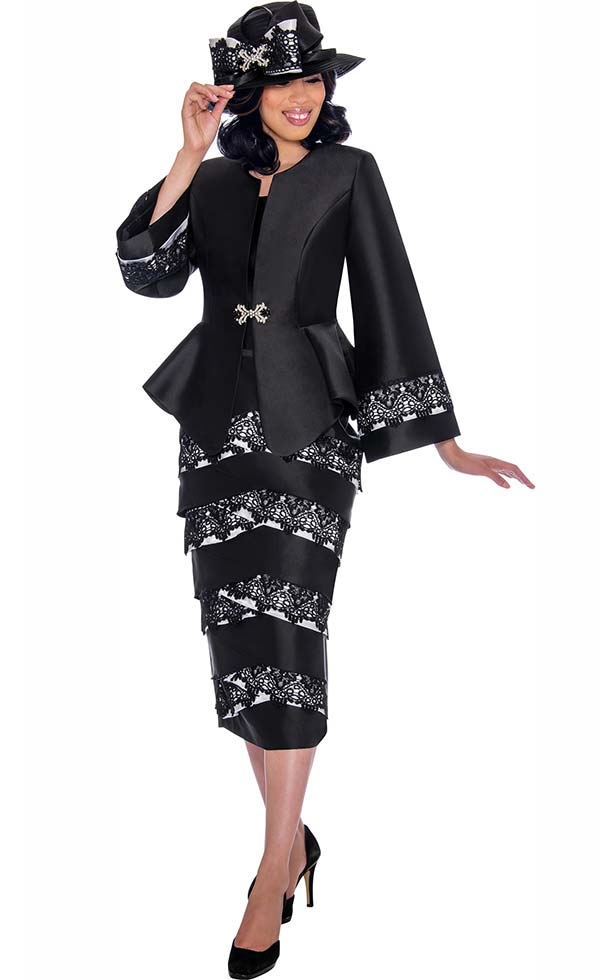 GMI G7442-BlackWhite - Womens Church Suit With Lace Trimmed Skirt And Peplum Jacket