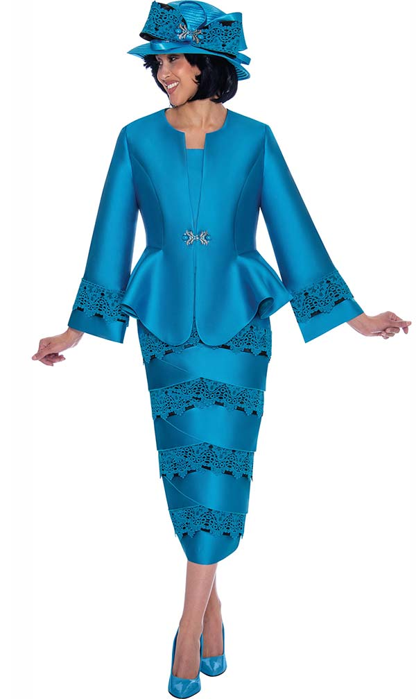 GMI G7442-Turquoise - Womens Church Suit With Lace Trimmed Skirt And Peplum Jacket
