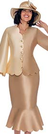 GMI G7472-Champagne - Jacket And Flounce Skirt Suit With Scalloped Trim Design