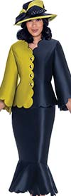 GMI G7472-Navy - Jacket And Flounce Skirt Suit With Scalloped Trim Design