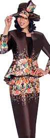 GMI G7483-Brown - Floral Print Peplum Jacket & Skirt Set