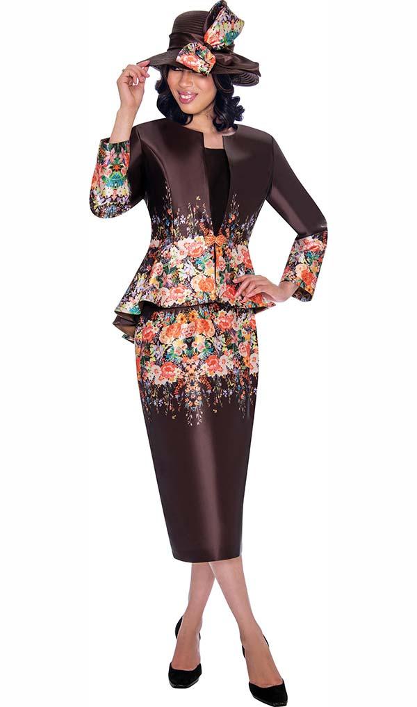 GMI G7483-Brown - Floral Print Peplum Jacket & Skirt Set