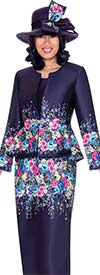GMI G7483-Purple - Floral Print Peplum Jacket & Skirt Set