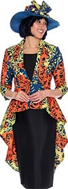 GMI G7503-Green - Womens Extended Peplum Style Jacket & Skirt Suit In Abstract Color Design