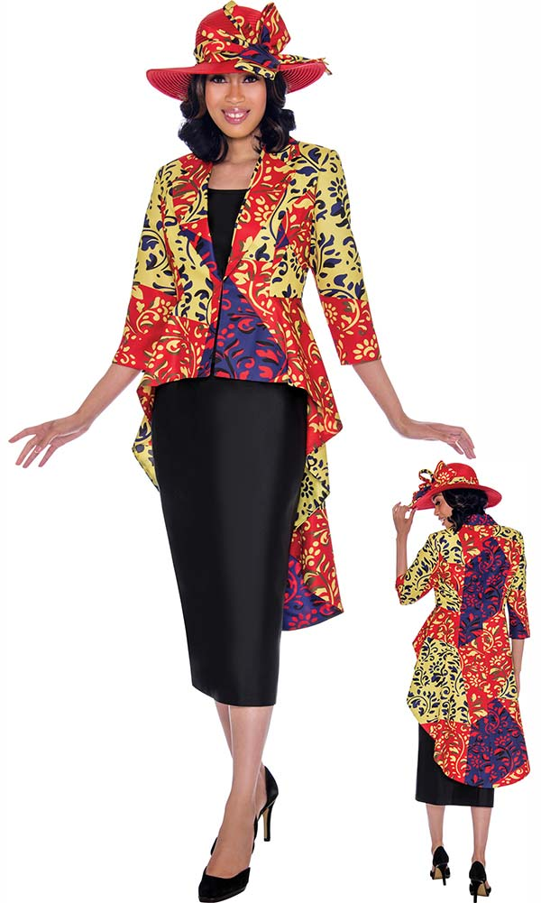 GMI G7503-Red - Womens Extended Peplum Style Jacket & Skirt Suit In Abstract Color Design