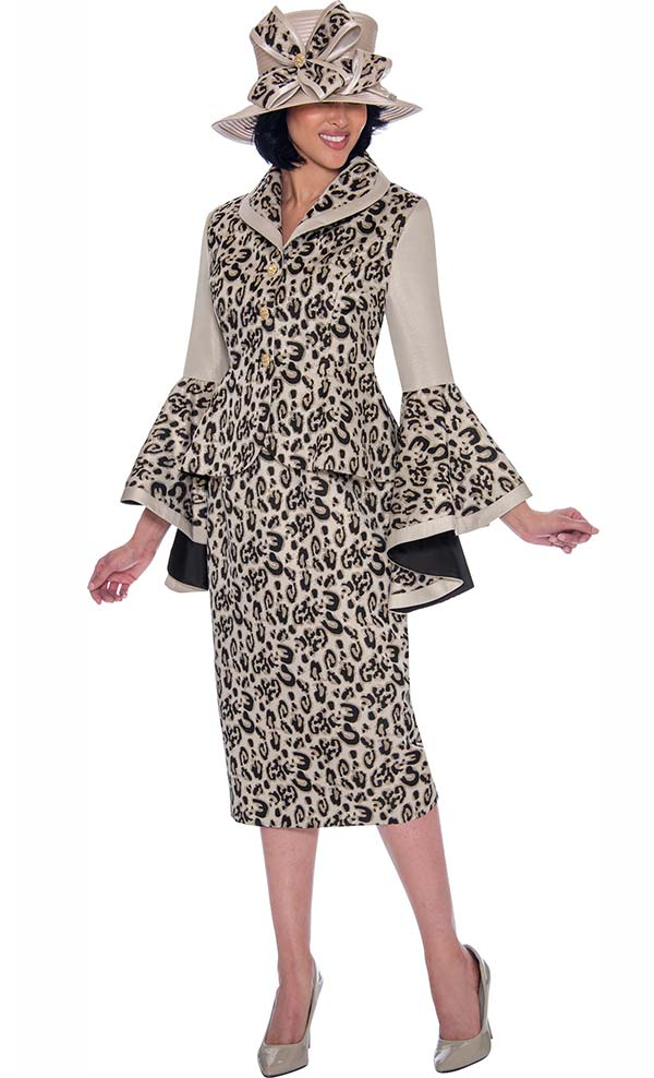 GMI G7512-Gold - Womens Skirt Suit With Wide Bell Cuff Sleeves In Leopard Print