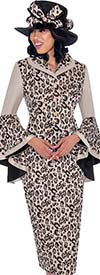 GMI G7512-RoseGold - Womens Skirt Suit With Wide Bell Cuff Sleeves In Leopard Print