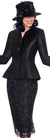 GMI G7532-Black - Lace Skirt And Solid Peplum Jacket Set With Feather Trim Cuffs