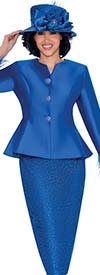 GMI G7532-Royal - Lace Skirt And Solid Peplum Jacket Set With Feather Trim Cuffs