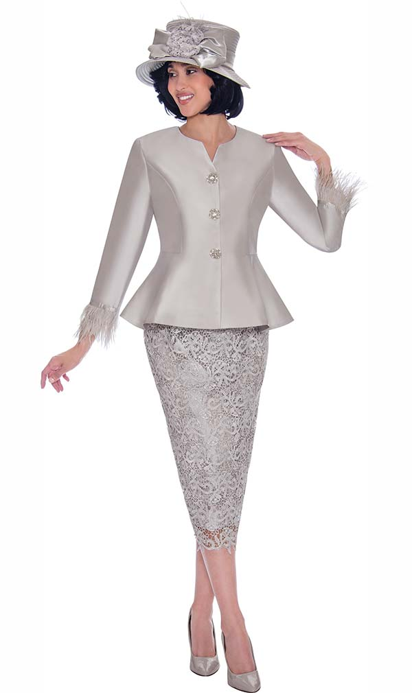 GMI G7532-Silver - Lace Skirt And Solid Peplum Jacket Set With Feather Trim Cuffs
