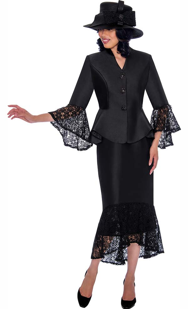 GMI G7552-Black - Lace Trimmed Peplum Jacket And Skirt Suit