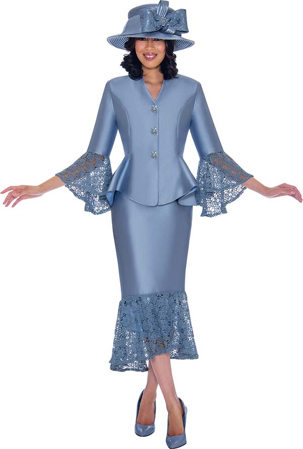 GMI G7552-Perri - Lace Trimmed Peplum Jacket And Skirt Suit