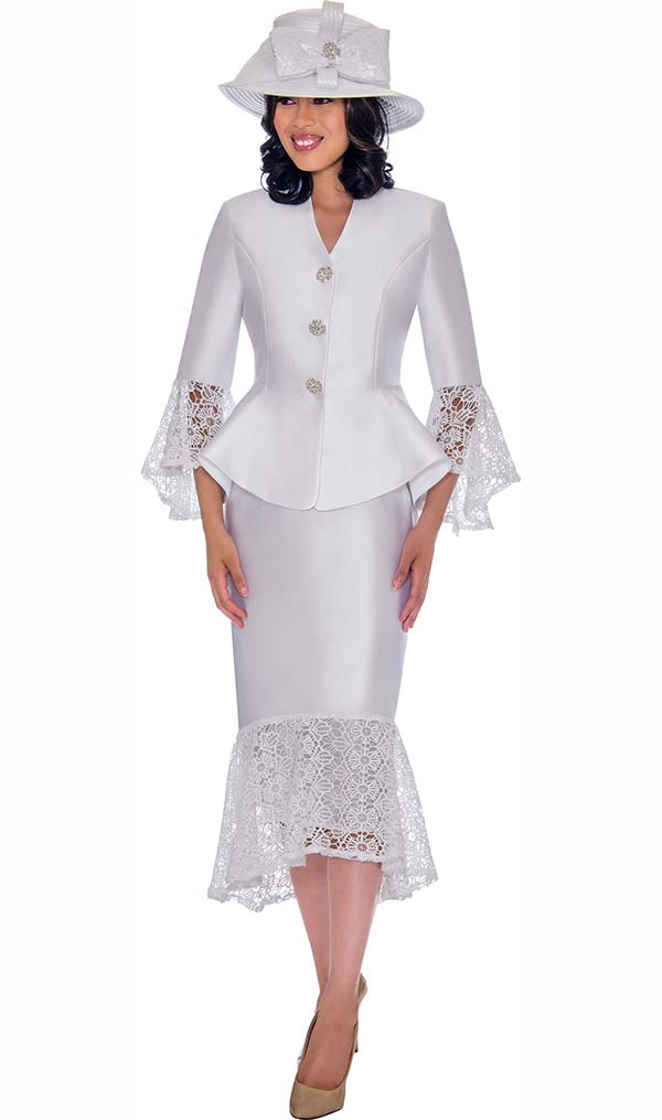 GMI G7552-White - Lace Trimmed Peplum Jacket And Skirt Suit
