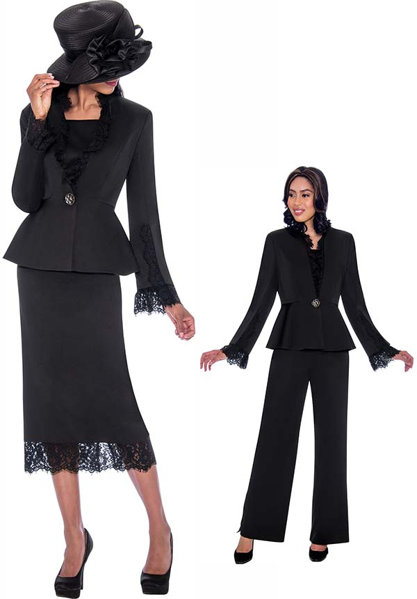 GMI G7563-Black - Lace Trimmed Skirt And Peplum Jacket Wardrober Set With Pants