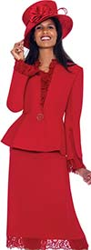 GMI G7563-Red - Lace Trimmed Skirt And Peplum Jacket Wardrober Set With Pants