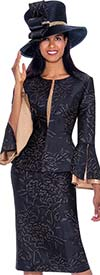 GMI G7593-Navy - Split Layered Cuff Sleeve Peplum Jacket And Skirt Suit