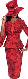 GMI G7593-Red - Split Layered Cuff Sleeve Peplum Jacket And Skirt Suit