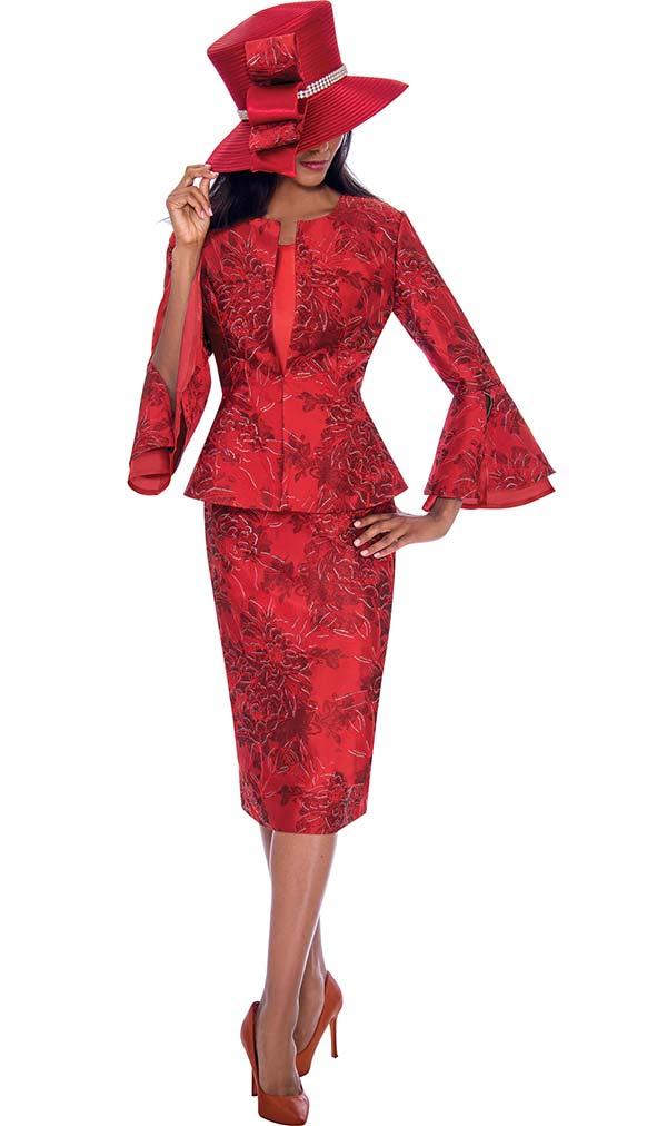 GMI G7593-Red - Split Layered Cuff Sleeve Peplum Jacket And Skirt Suit