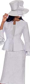 GMI G7593-White - Split Layered Cuff Sleeve Peplum Jacket And Skirt Suit