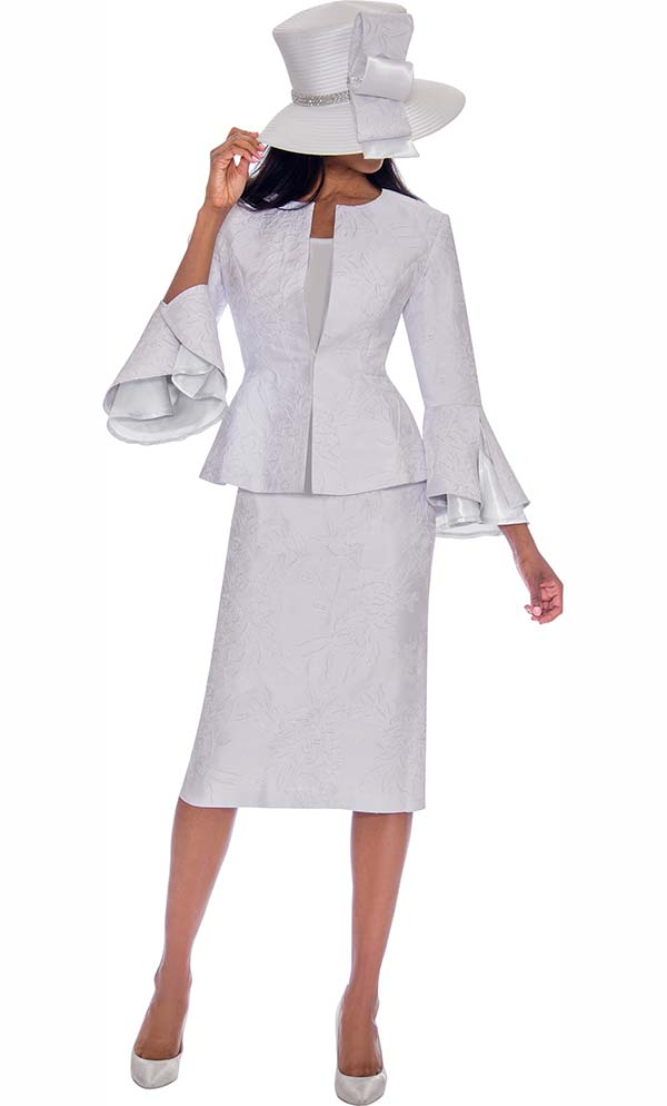 GMI G7593-White - Split Layered Cuff Sleeve Peplum Jacket And Skirt Suit