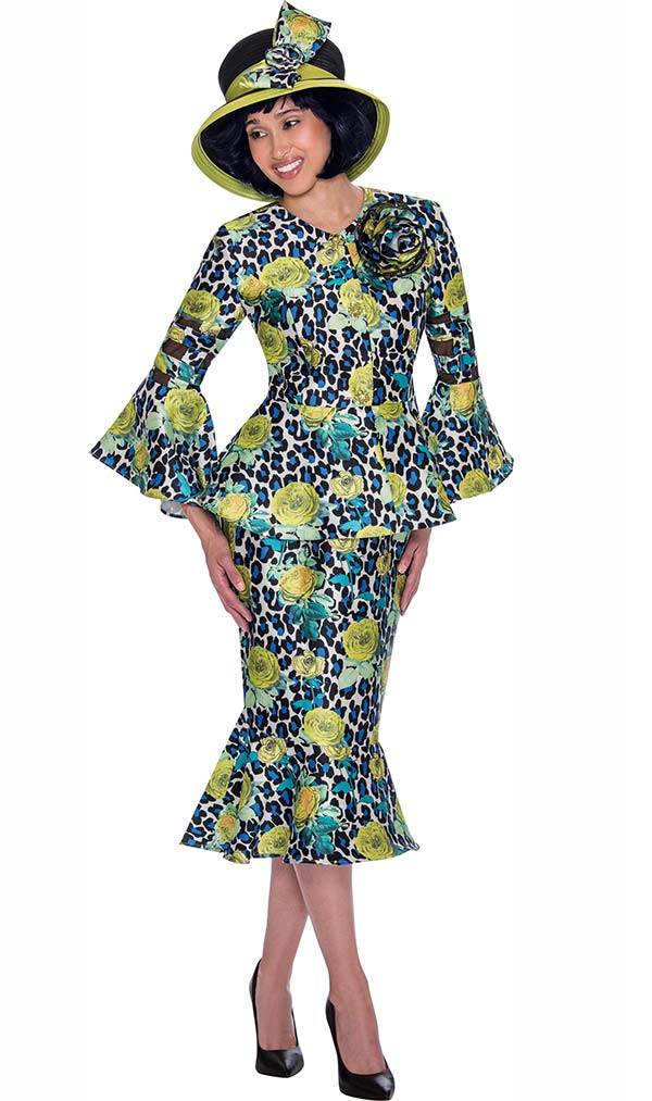 GMI G7602-Green - Bell Sleeeve Jacket And Flounce Skirt Suit With Floral Print Design
