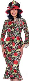 GMI G7602-Red - Bell Sleeeve Jacket And Flounce Skirt Suit With Floral Print Design
