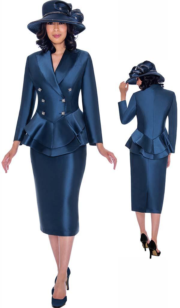GMI G7612-Navy - Skirt Suit With Layered Peplum Peak Lapel Jacket