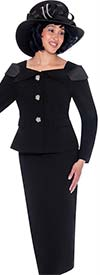 GMI G7622-Black - Womens Church Suit With Skirt And Over Shoulder Notch Lapel Collar