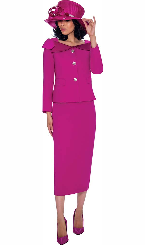 GMI G7622-Magenta - Womens Church Suit With Skirt And Over Shoulder Notch Lapel Collar