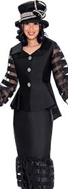 GMI G7632-Black - Striped Organza Inset Puff Design Flounce Skirt And Jacket Suit