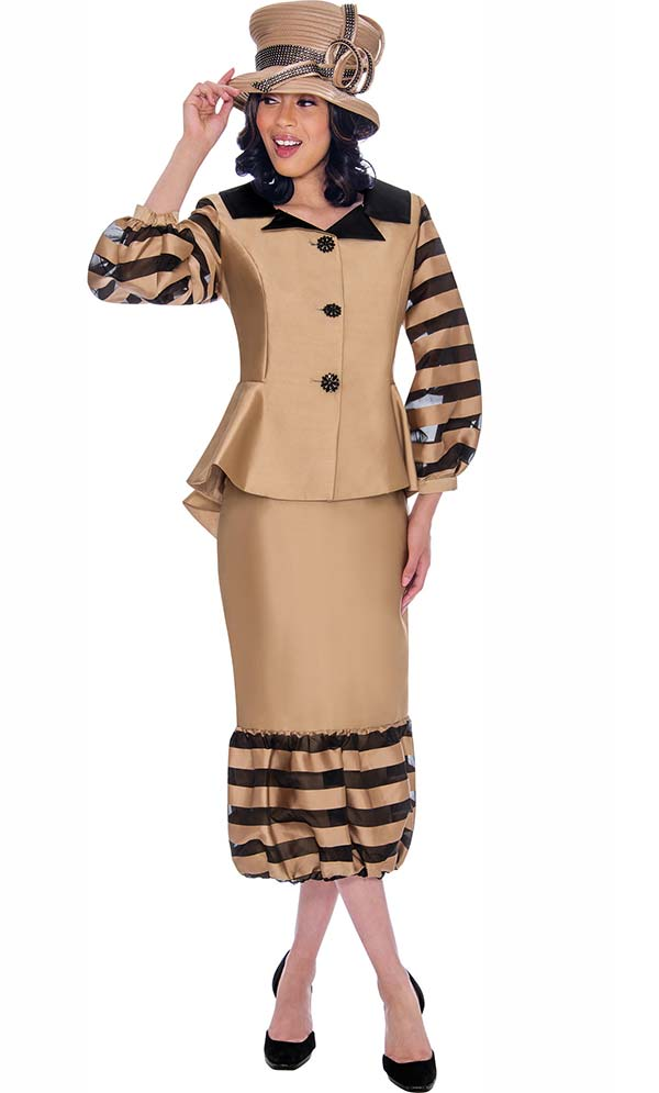 GMI G7632-Gold - Striped Organza Inset Puff Design Flounce Skirt And Jacket Suit