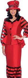 GMI G7632-Red - Striped Organza Inset Puff Design Flounce Skirt And Jacket Suit