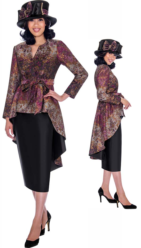GMI G7772 - Womens Extended Peplum Style Jacket & Skirt Suit With Sash